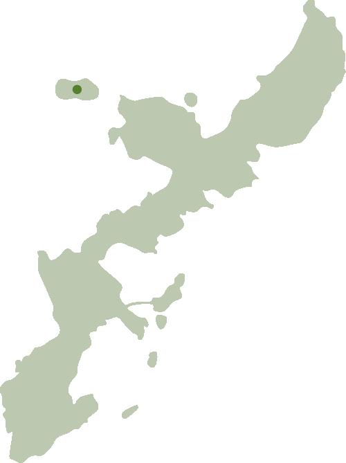 伊江島の位置を示した沖縄の地図